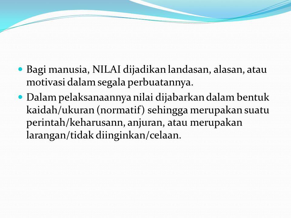 Bagi manusia, NILAI dijadikan landasan, alasan, atau motivasi dalam segala perbuatannya.