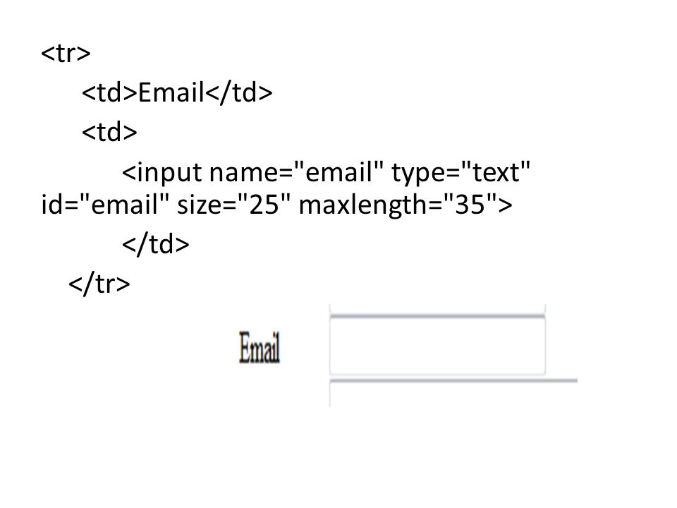 <tr> <td>Email</td> <td> <input name= email type= text id= email size= 25 maxlength= 35 > </td> </tr>