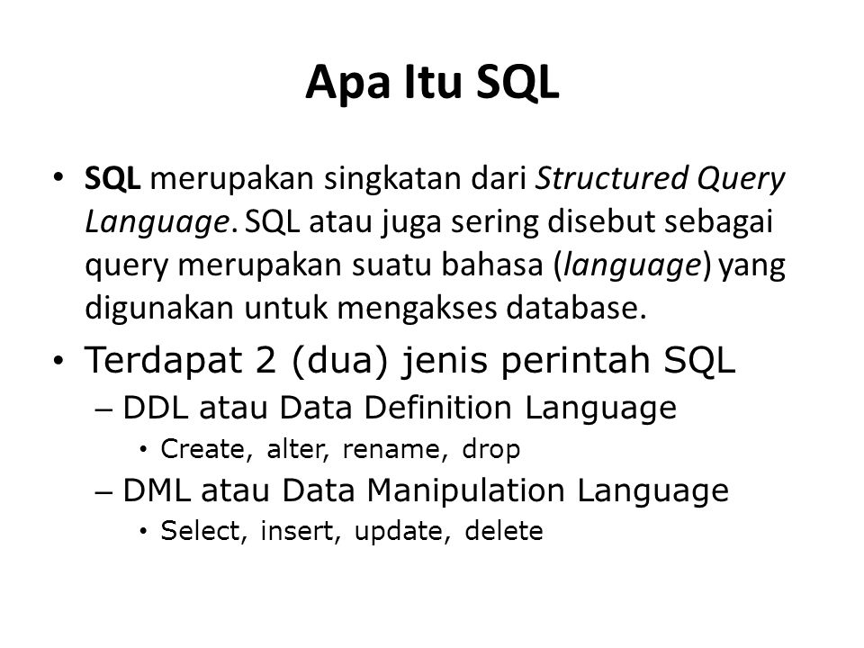 Apa Itu SQL