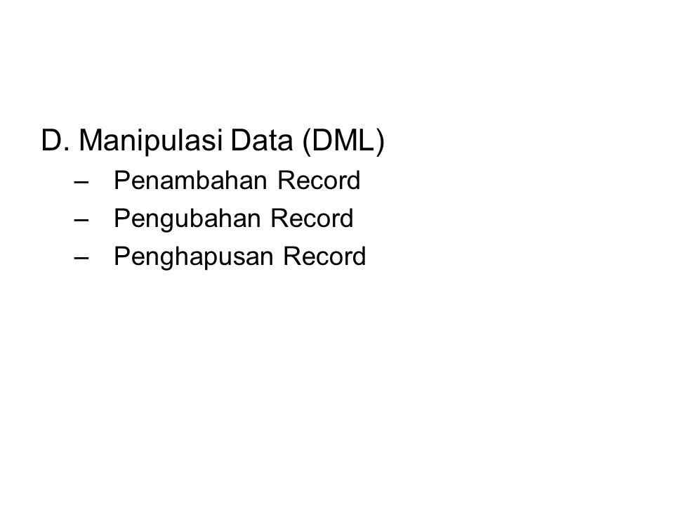 D. Manipulasi Data (DML)