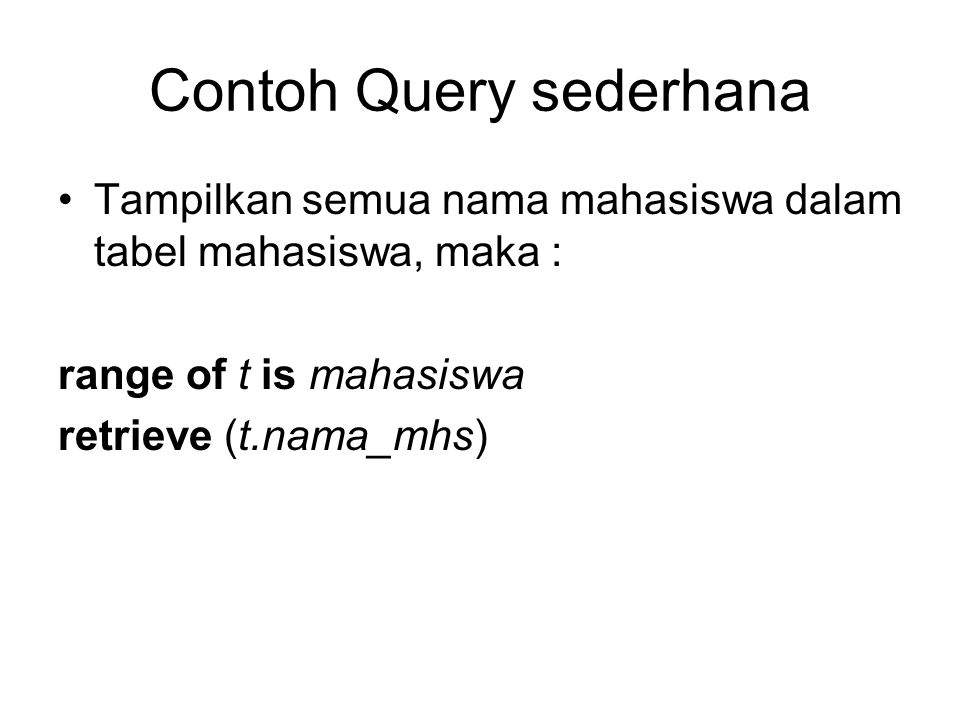Contoh Query sederhana