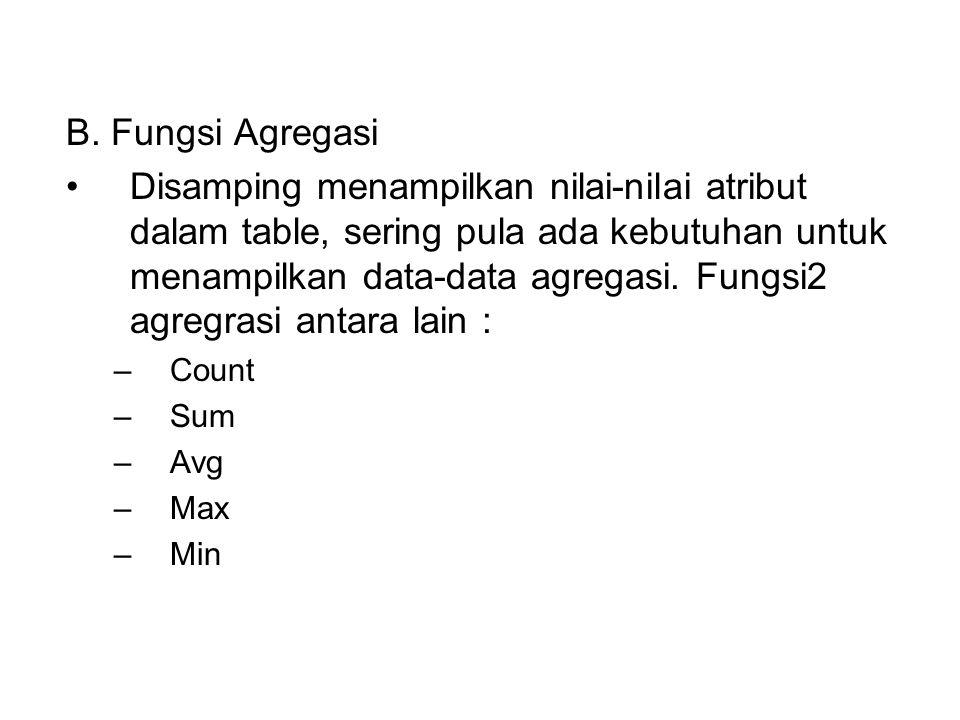 B. Fungsi Agregasi