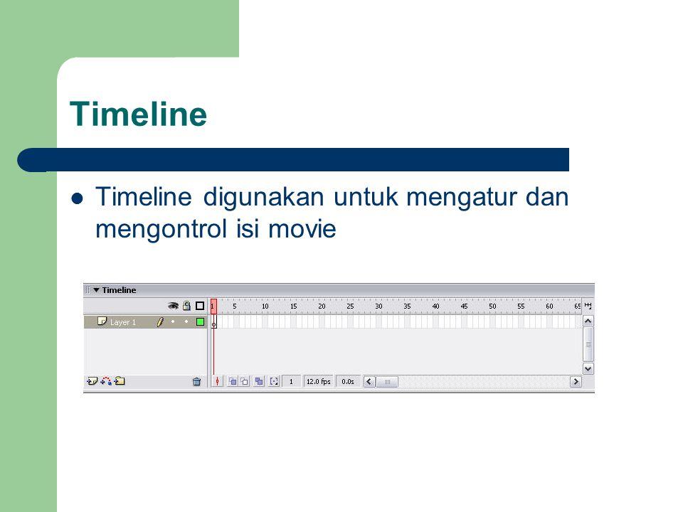 Timeline Timeline digunakan untuk mengatur dan mengontrol isi movie
