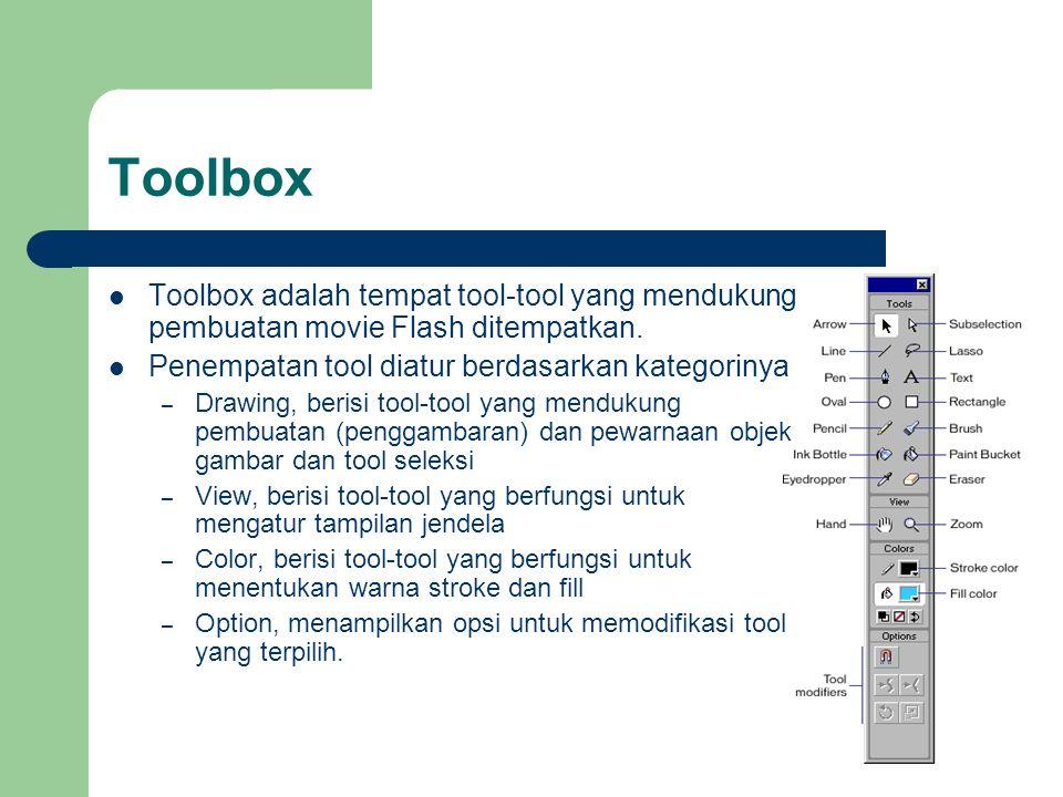 Toolbox Toolbox adalah tempat tool-tool yang mendukung pembuatan movie Flash ditempatkan. Penempatan tool diatur berdasarkan kategorinya.