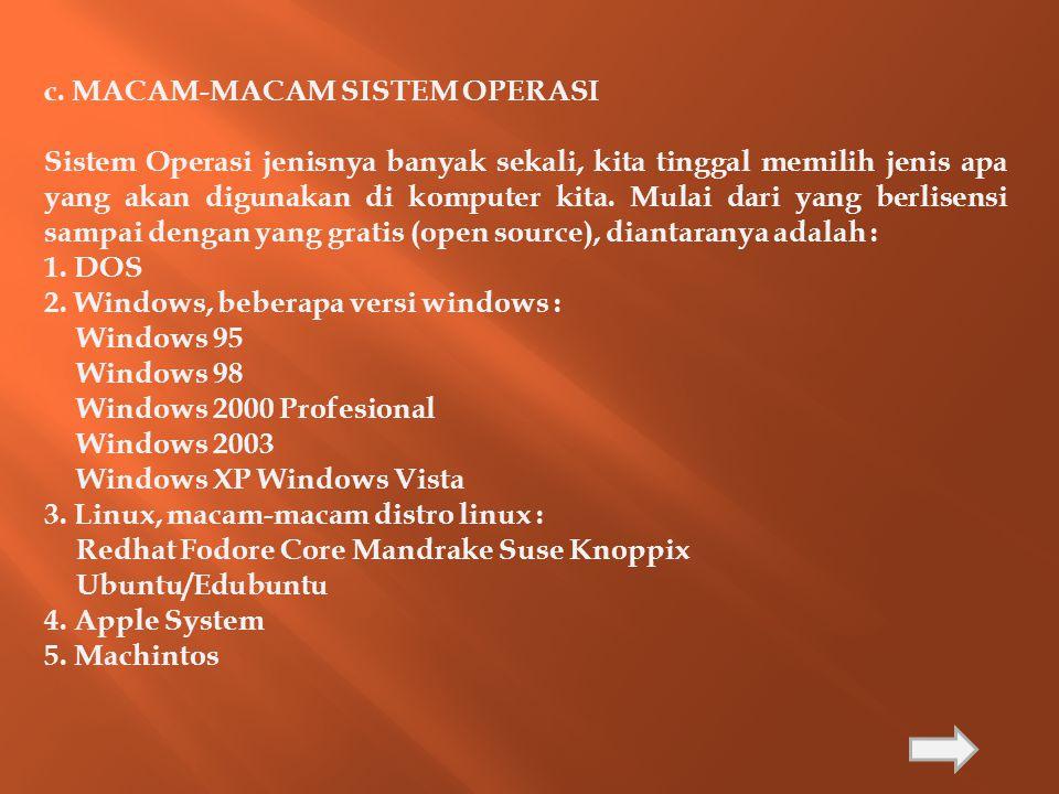 c. MACAM-MACAM SISTEM OPERASI