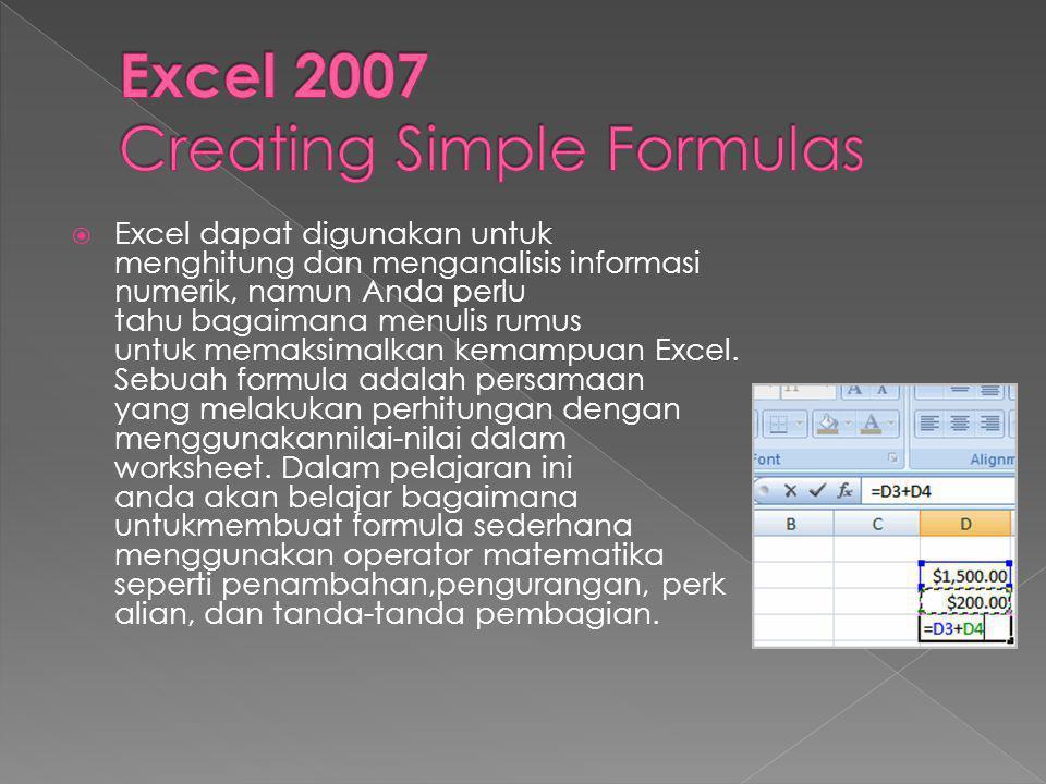 Excel 2007 Creating Simple Formulas
