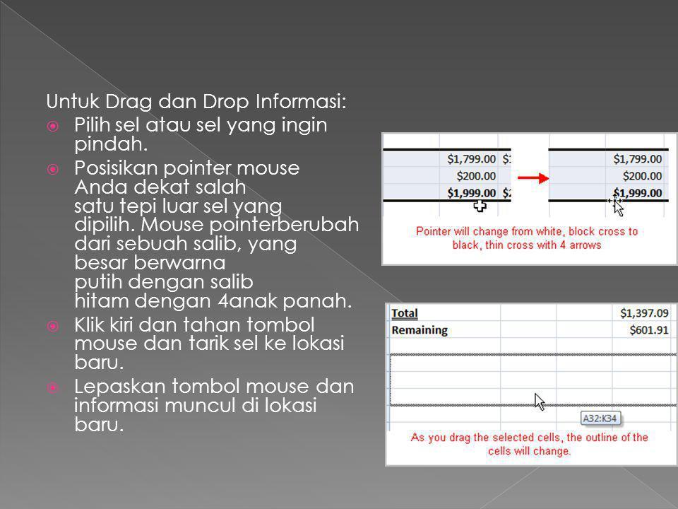 Untuk Drag dan Drop Informasi: