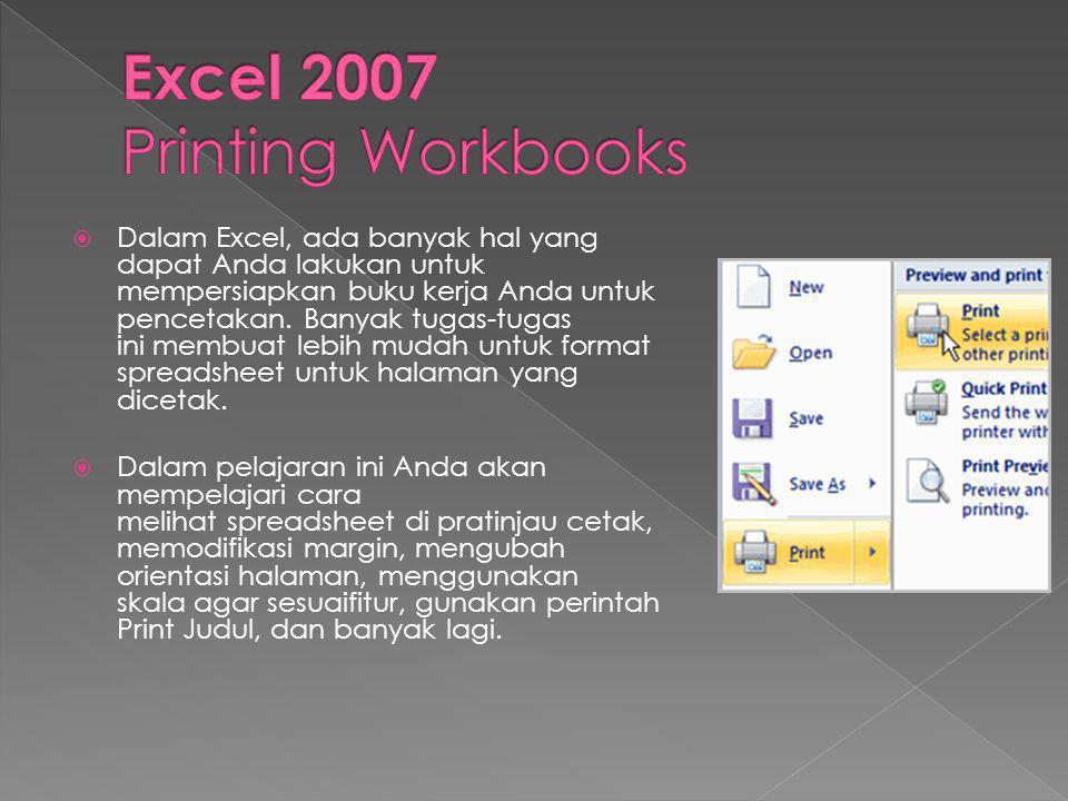 Excel 2007 Printing Workbooks