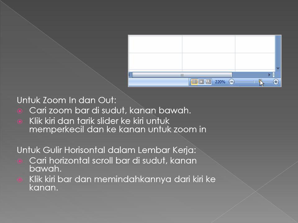 Untuk Zoom In dan Out: Cari zoom bar di sudut, kanan bawah. Klik kiri dan tarik slider ke kiri untuk memperkecil dan ke kanan untuk zoom in.