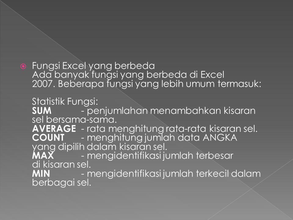 Fungsi Excel yang berbeda Ada banyak fungsi yang berbeda di Excel 2007