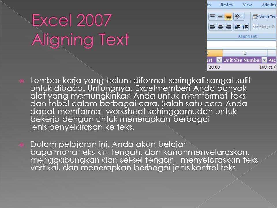 Excel 2007 Aligning Text