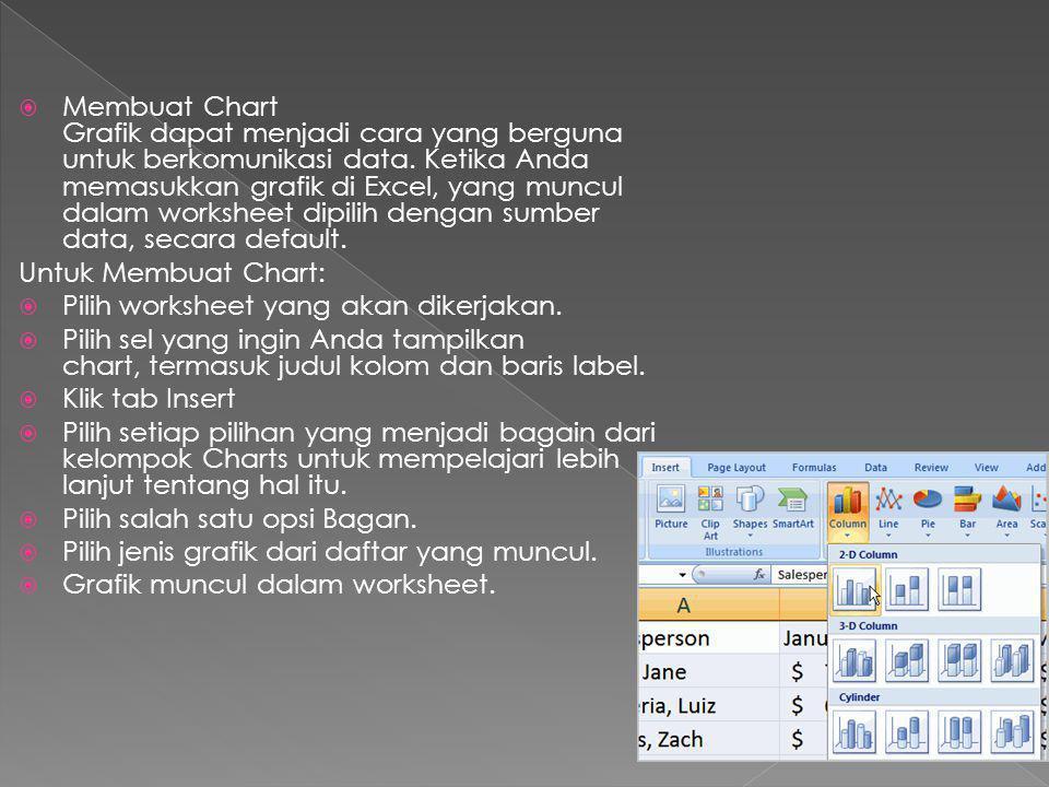 Membuat Chart Grafik dapat menjadi cara yang berguna untuk berkomunikasi data. Ketika Anda memasukkan grafik di Excel, yang muncul dalam worksheet dipilih dengan sumber data, secara default.