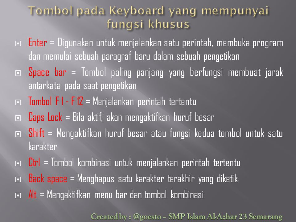 Tombol pada Keyboard yang mempunyai fungsi khusus