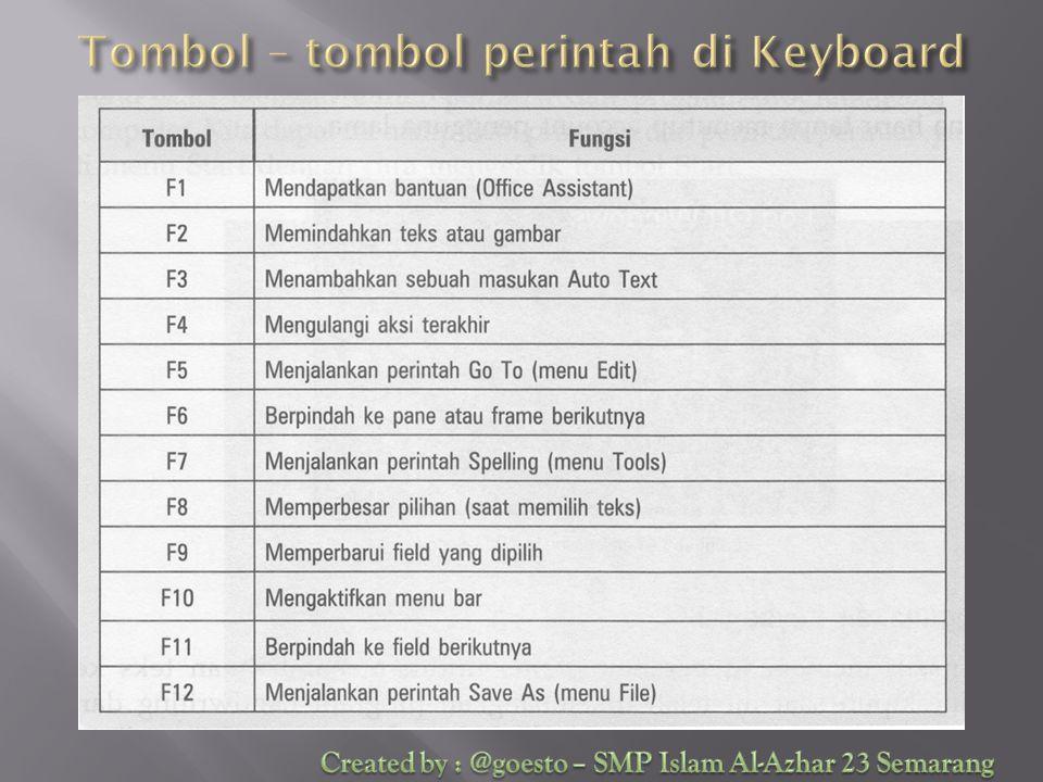 Tombol – tombol perintah di Keyboard