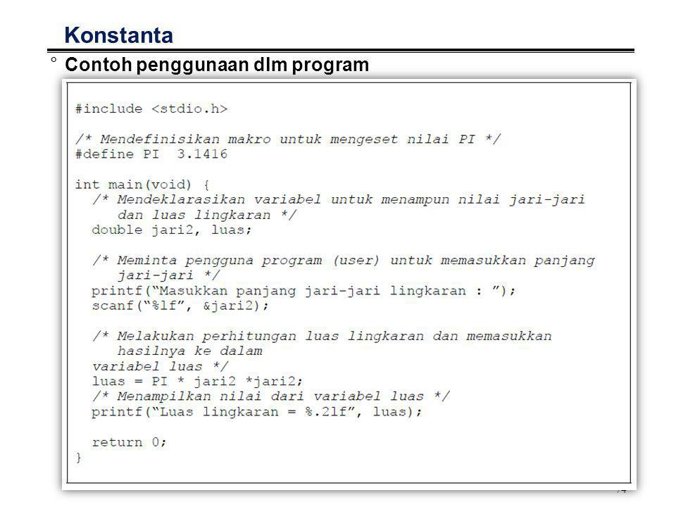 Konstanta Contoh penggunaan dlm program