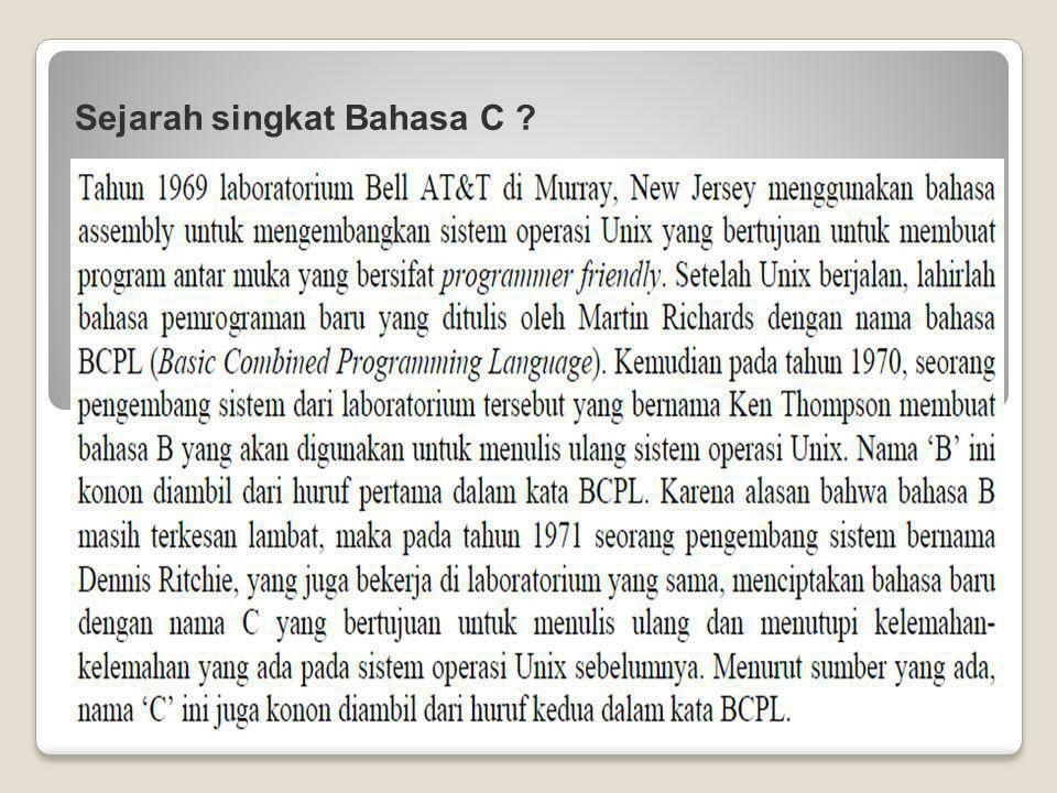 Sejarah singkat Bahasa C