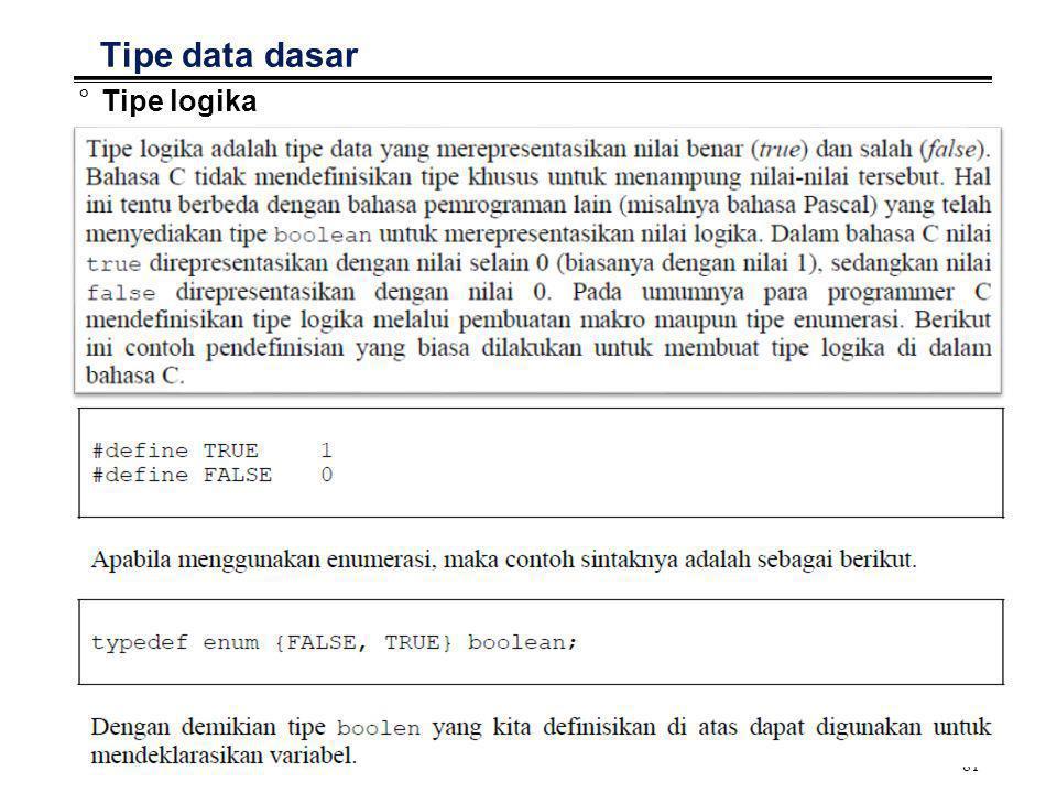 Tipe data dasar Tipe logika