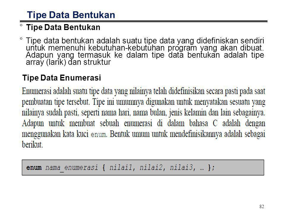 Tipe Data Bentukan Tipe Data Bentukan