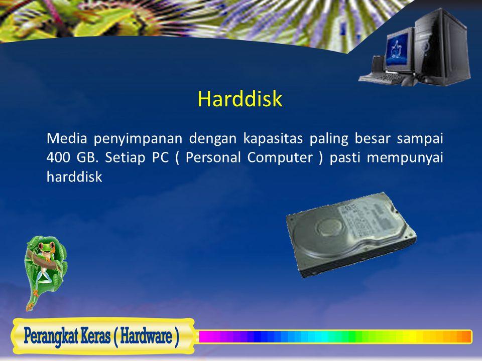 Harddisk Media penyimpanan dengan kapasitas paling besar sampai 400 GB.