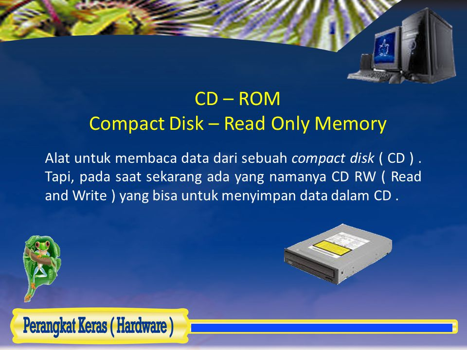 CD – ROM Compact Disk – Read Only Memory