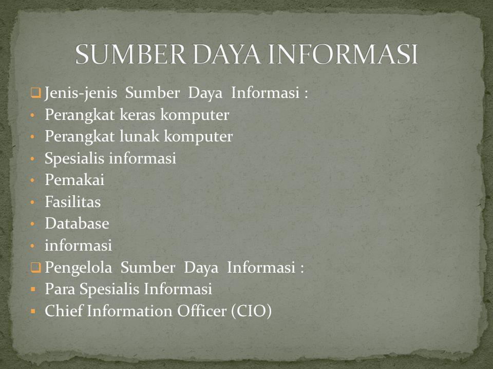 SUMBER DAYA INFORMASI Jenis-jenis Sumber Daya Informasi :