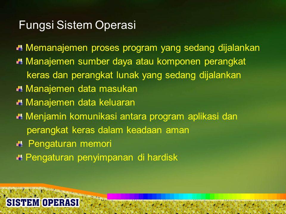 Fungsi Sistem Operasi Memanajemen proses program yang sedang dijalankan. Manajemen sumber daya atau komponen perangkat.