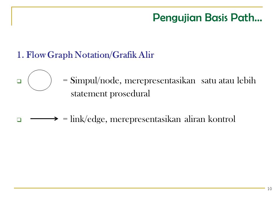 Pengujian Basis Path... 1. Flow Graph Notation/Grafik Alir