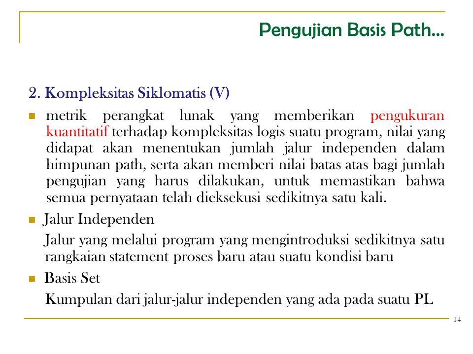 Pengujian Basis Path... 2. Kompleksitas Siklomatis (V)