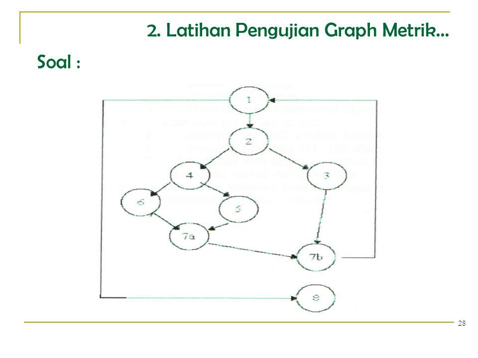 2. Latihan Pengujian Graph Metrik... Soal :