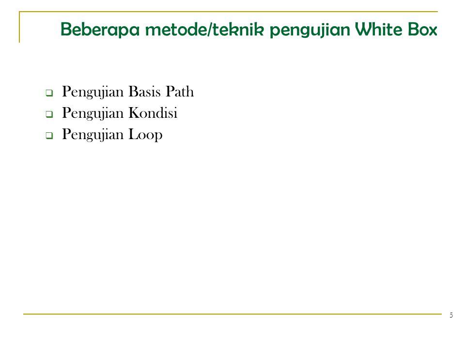 Beberapa metode/teknik pengujian White Box