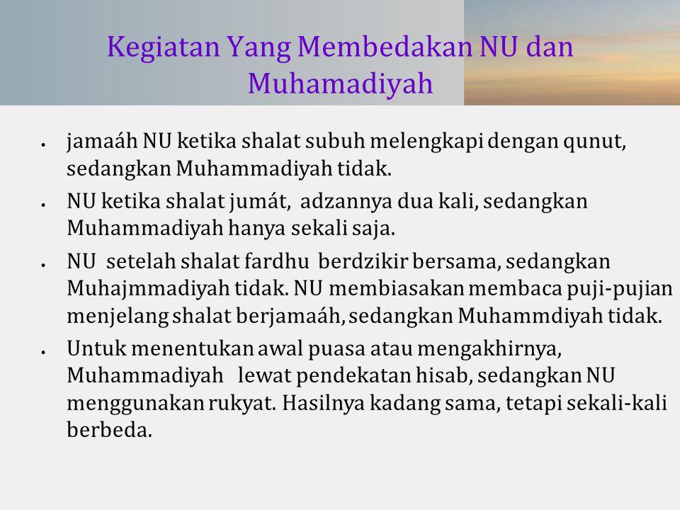 Kegiatan Yang Membedakan NU dan Muhamadiyah