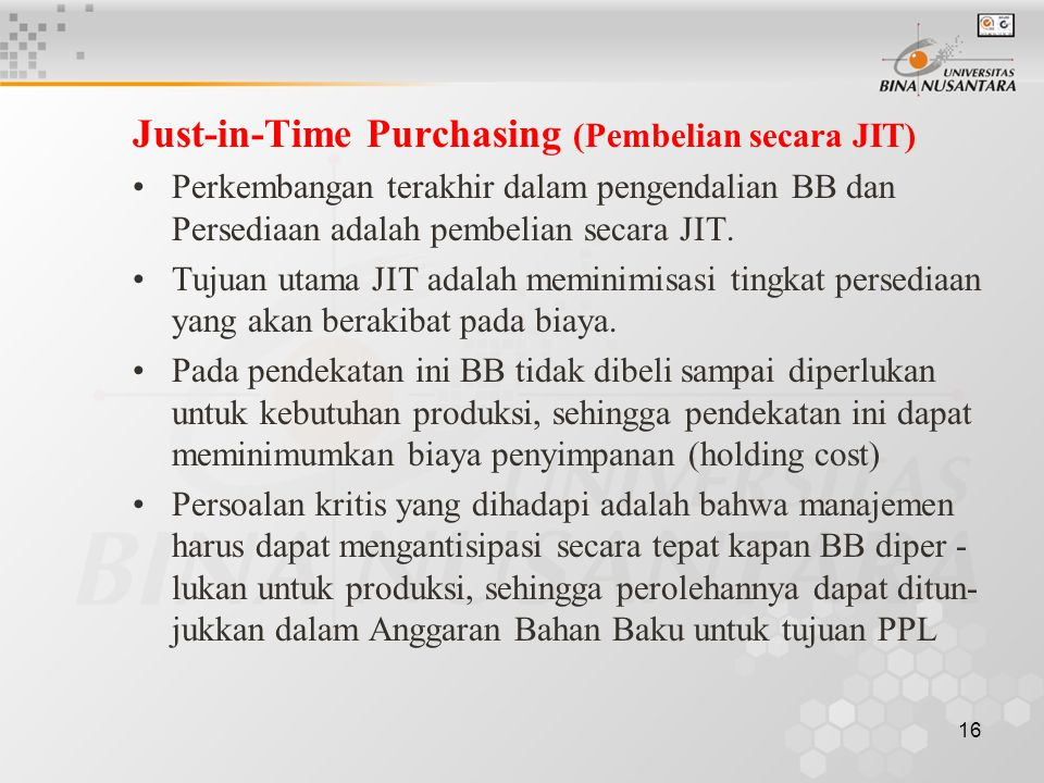 Just-in-Time Purchasing (Pembelian secara JIT)