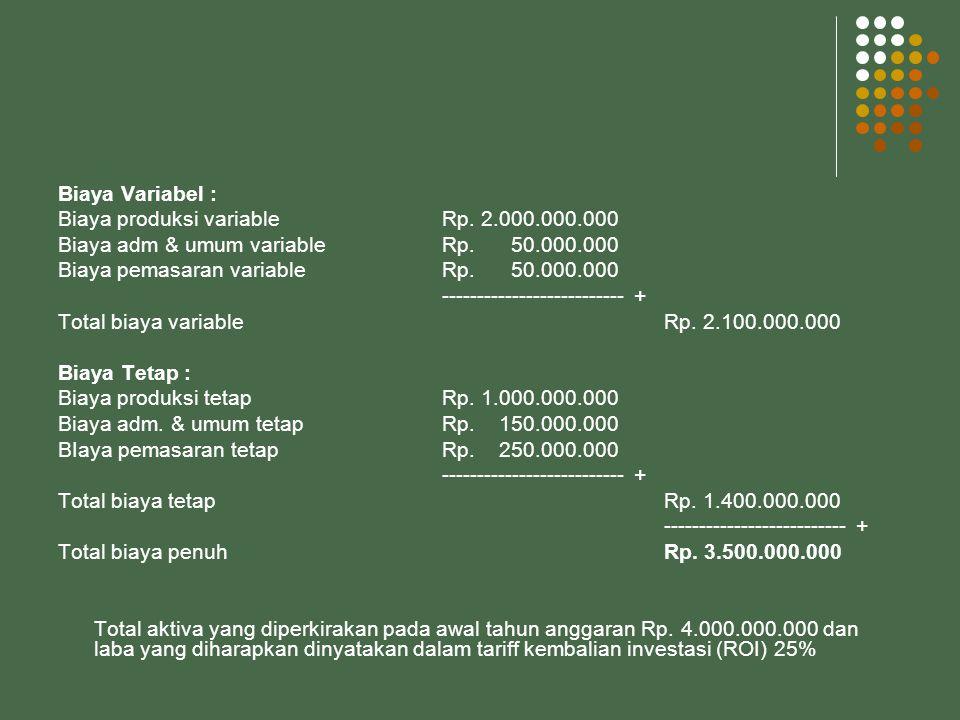 Biaya Variabel : Biaya produksi variable Rp. 2.000.000.000. Biaya adm & umum variable Rp. 50.000.000.