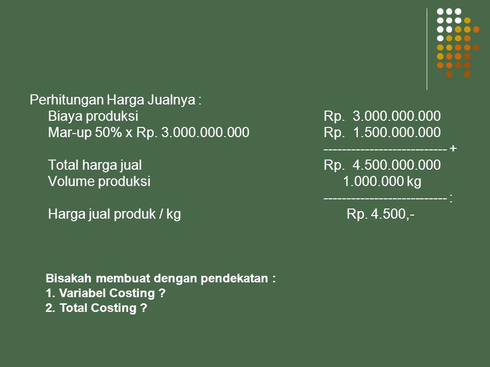Perhitungan Harga Jualnya : Biaya produksi Rp. 3.000.000.000