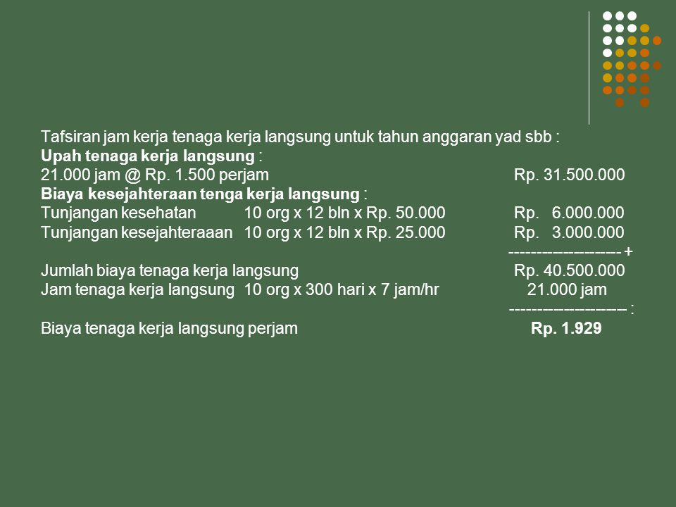 Tafsiran jam kerja tenaga kerja langsung untuk tahun anggaran yad sbb :