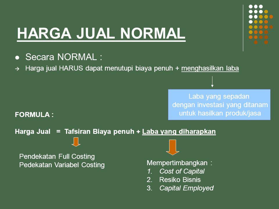 HARGA JUAL NORMAL Secara NORMAL :