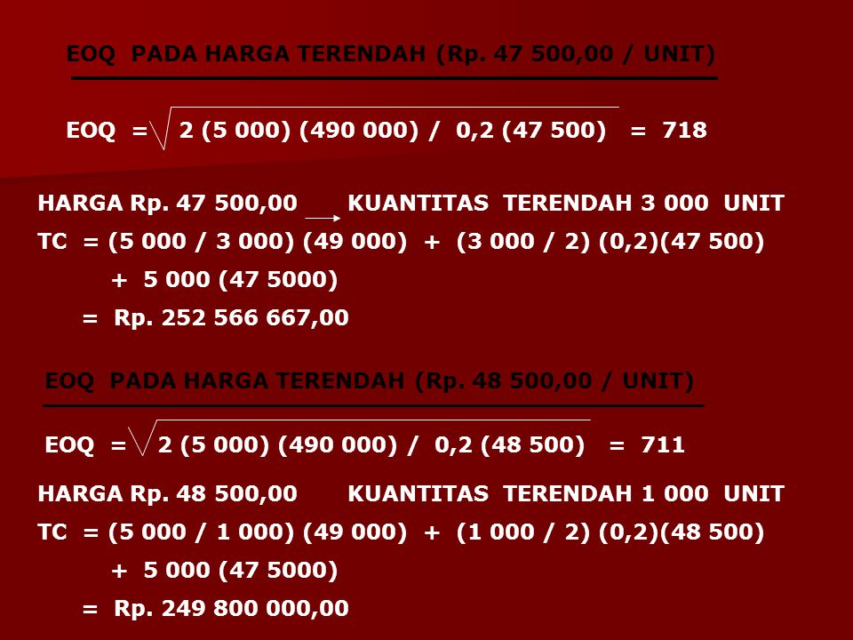 EOQ PADA HARGA TERENDAH (Rp. 47 500,00 / UNIT)