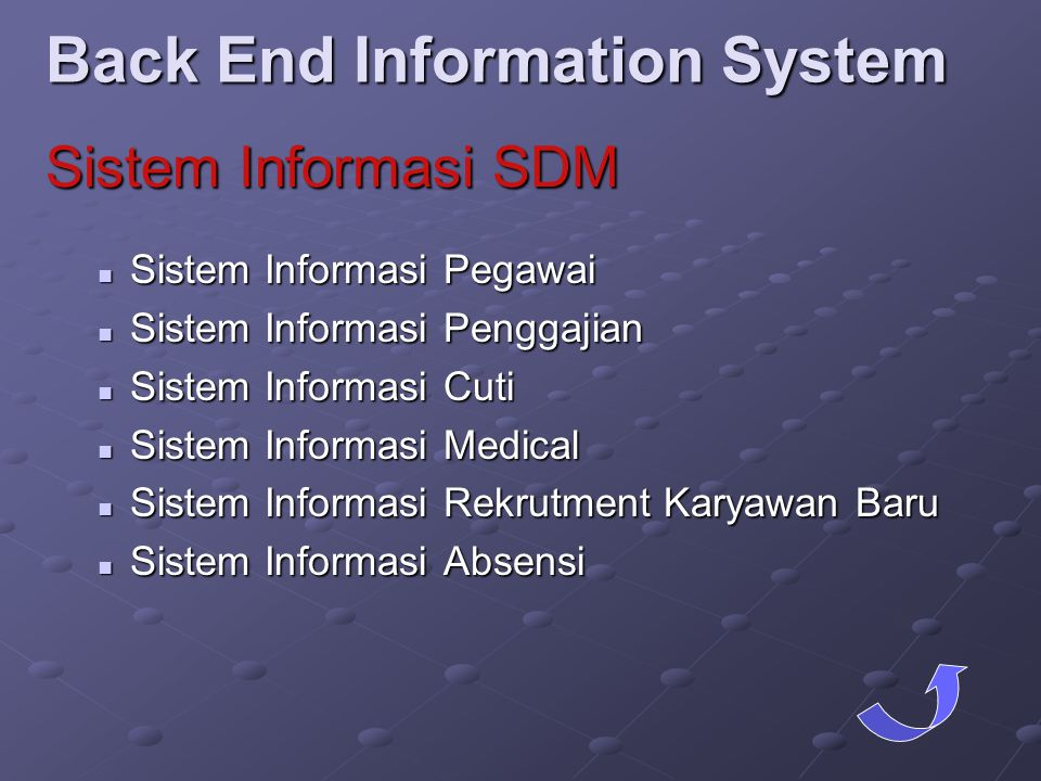 Back End Information System