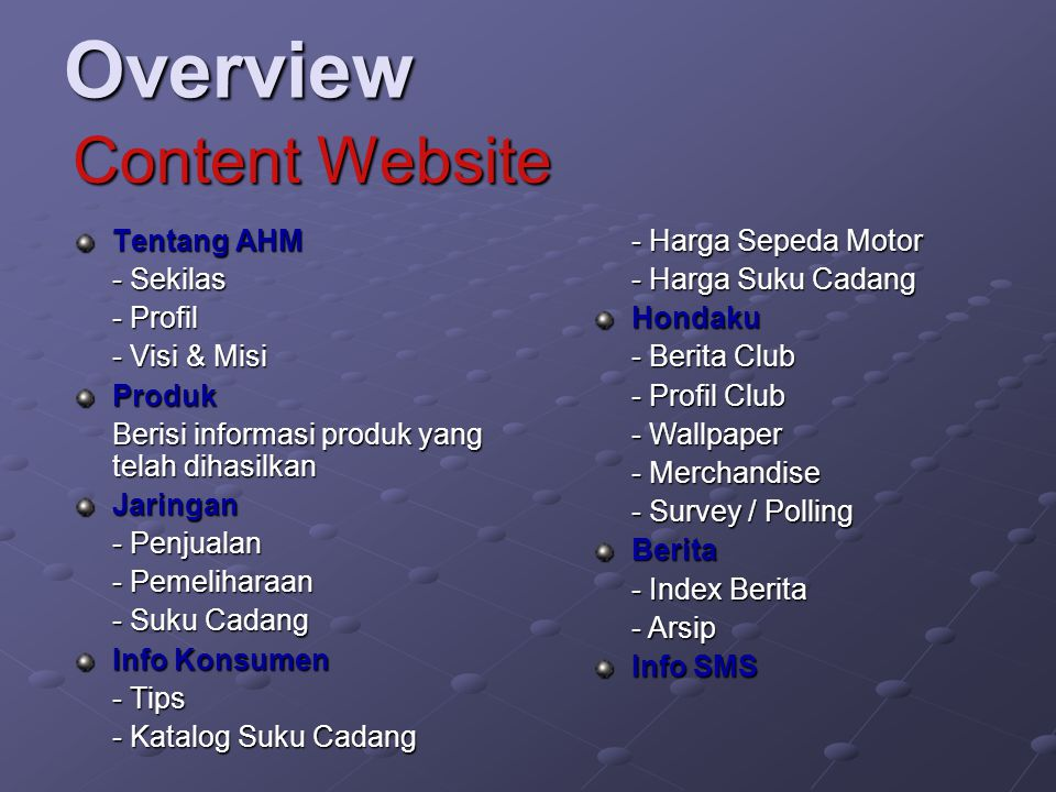 Overview Content Website Tentang AHM - Sekilas - Profil - Visi & Misi