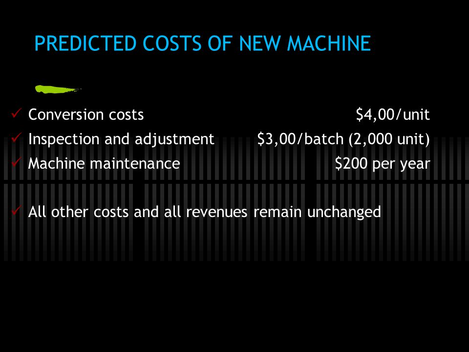 PREDICTED COSTS OF NEW MACHINE