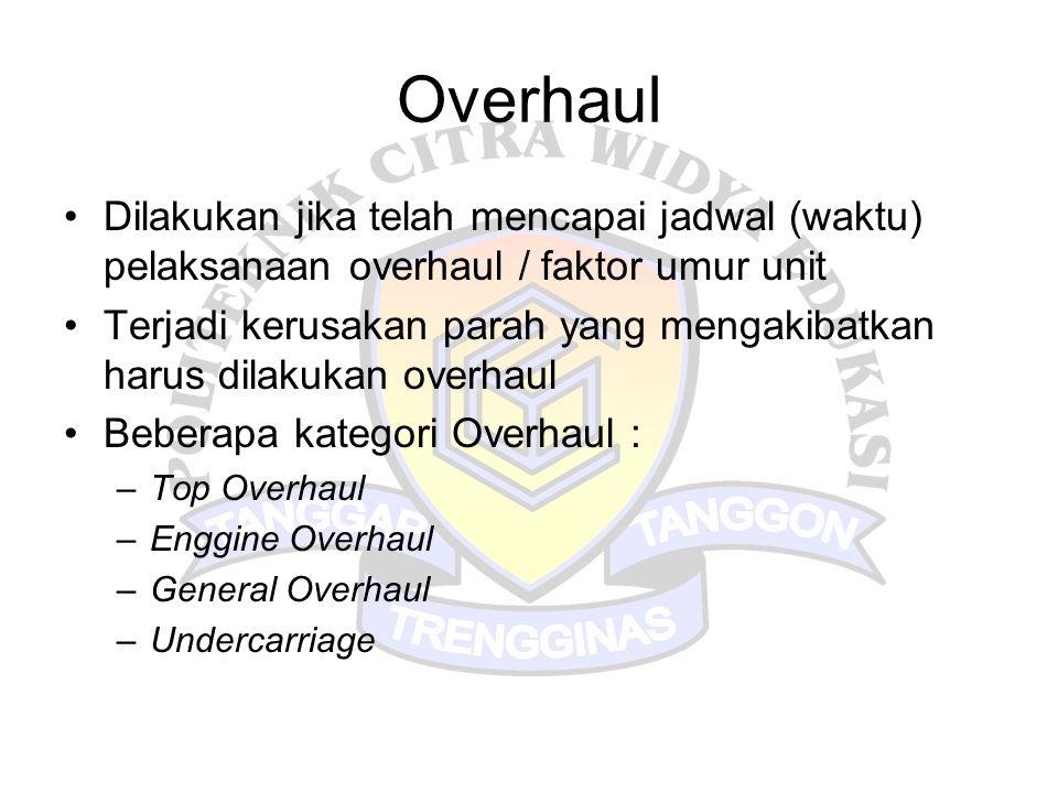 Overhaul Dilakukan jika telah mencapai jadwal (waktu) pelaksanaan overhaul / faktor umur unit.