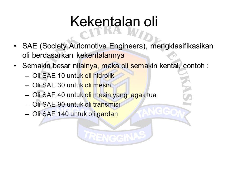 Kekentalan oli SAE (Society Automotive Engineers), mengklasifikasikan oli berdasarkan kekentalannya.