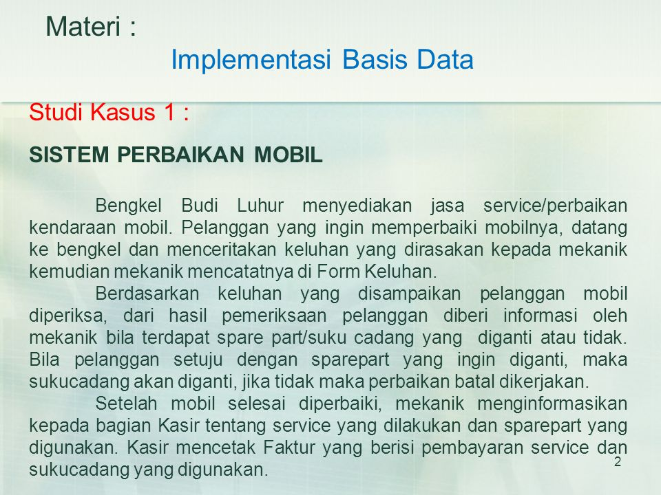 Implementasi Basis Data