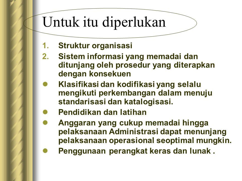 Untuk itu diperlukan Struktur organisasi