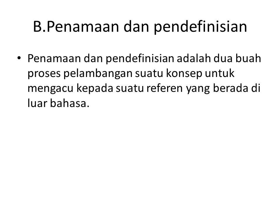B.Penamaan dan pendefinisian