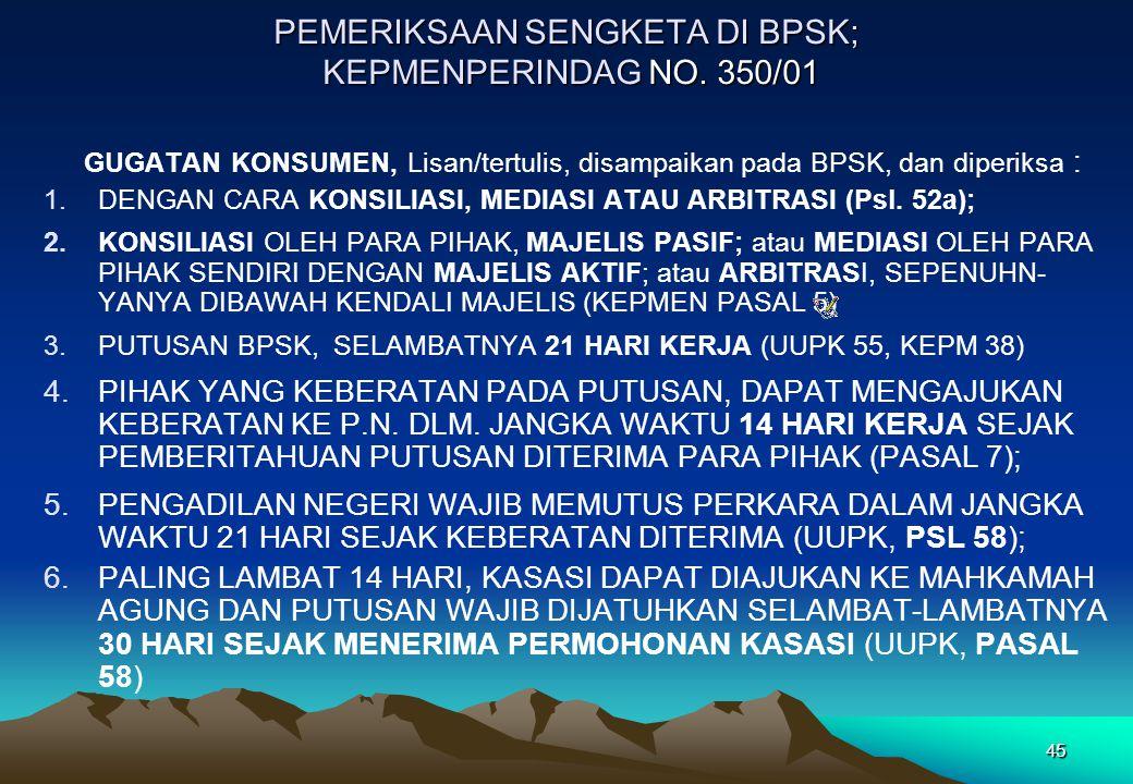 PEMERIKSAAN SENGKETA DI BPSK; KEPMENPERINDAG NO. 350/01
