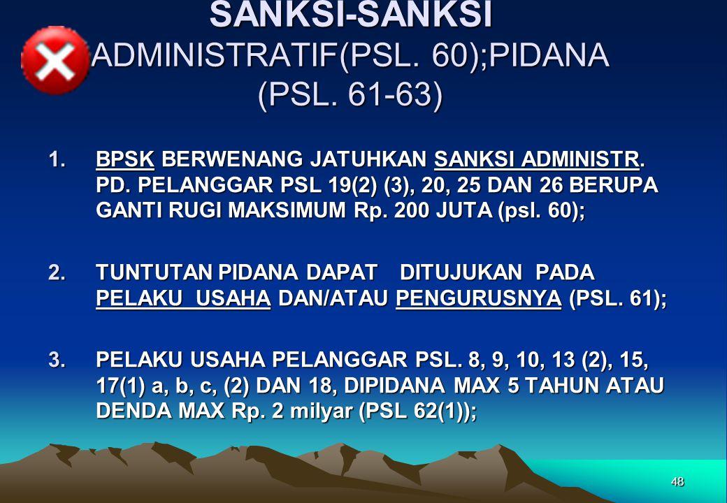 SANKSI-SANKSI ADMINISTRATIF(PSL. 60);PIDANA (PSL. 61-63)