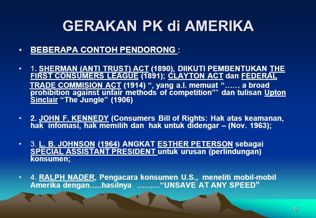 GERAKAN PK di AMERIKA BEBERAPA CONTOH PENDORONG :