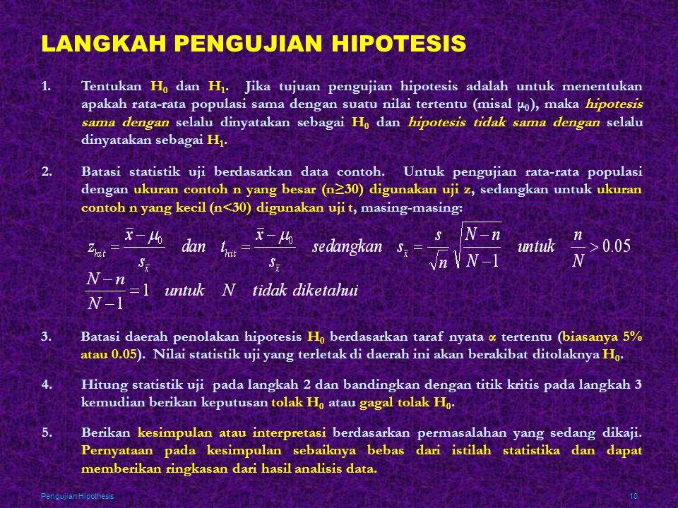 LANGKAH PENGUJIAN HIPOTESIS