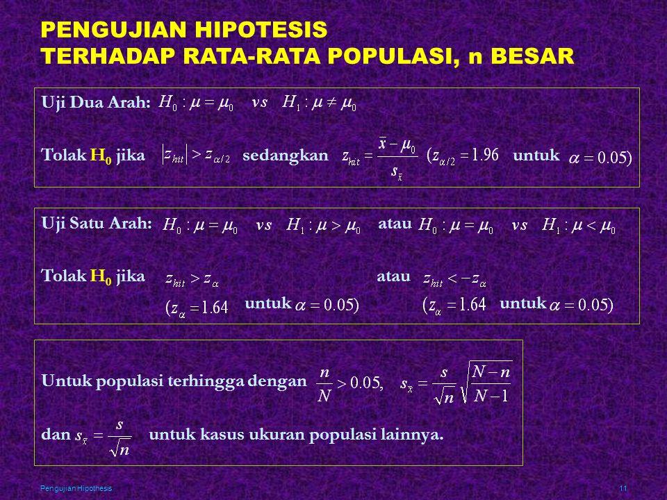PENGUJIAN HIPOTESIS TERHADAP RATA-RATA POPULASI, n BESAR